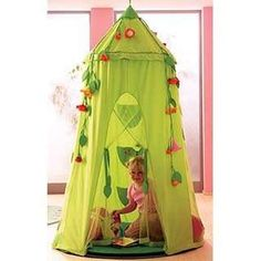Haba Blossom Sky Room Tent, 2969 Features: -Haba hanging tent hangs from a ceiling beam.-Thick foam pad for comfy seating.-Has ''hook and loop'' fasteners so that the tent bottom attaches easily to outer rim of the floor cushion. Childrens Play Tents, Kids Tents, Decorating Toddler Girls Room, Kids Decor, Indoor Tents, Indoor Playhouse, Hanging Tent, Magical Home, Little Girl Rooms