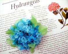 Tissue Paper Hydrangea - cute idea for Pearl's hair and Niko's lapel?