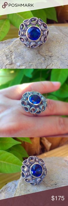 Blue Iolite and Opal sterling silver boho ring This solid sterling silver ring is set with small white opals on an intricate ribbon design with a beautiful 2ct Iolite in the center. It is stunning in person and very unique. Size 6 Jewelry Rings