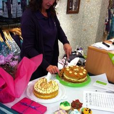 Judging the competition - the owner of Pryers Cakes.  Mistral Cheltenham supporting McMillans Worlds Biggest Coffee Morning,