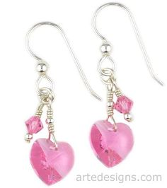 handmade Heart Earrings | These heart shaped Swarovski crystal earring in rose color are short ...