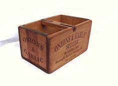 Vintage antiqued wooden box, crate, trug, Borough Market Londom, Onions & Garlic