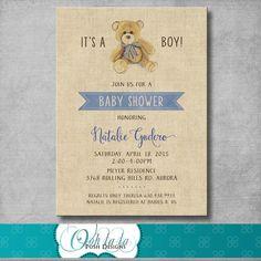 Osito bebé ducha invitación Vintage por OohlalaPoshDesigns en Etsy