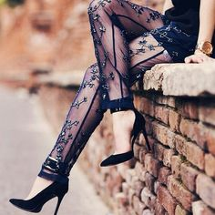 Sheer embroidered pants