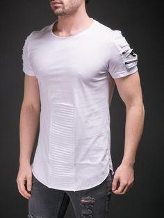 E1 Men Sleeve Zippers Rip Ridges T-shirt - White - FASH STOP