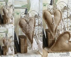 Burlap Hearts with doily and lace added.