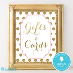 Pink and Gold Baby Shower - Gift & Cards table sign - Polka Dots Baby Shower Decor - Girl Baby Shower Printable - Gold Glitter party decor
