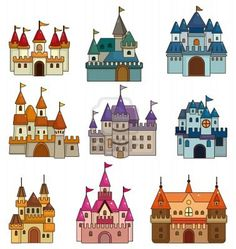 Castles, cartoon-style.