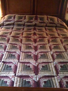 Lancaster County Amish Handmade Queen Somerset Log Cabin Quilt 331 | eBay