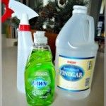 Homemade cleaner/degreaser! My version of this recipe is half water, vinegar, a few squeezes of the BLUE Dawn dish soap.  Some people prefer an old clean ketchup bottle to squeeze, makes for less fumes.