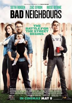 Neighbors #Movieposter .  Rogen, Byrne and Efron look to unseat Spider-Man and friends at the box office this weekend. That would be amazing.