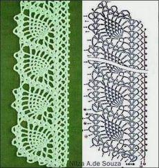 Foto - This page is a photo dump of many patterns. Crochet Bookmark Pattern, Crochet Edging Patterns, Crochet Lace Edging, Crochet Bookmarks, Crochet Borders, Crochet Cross, Crochet Diagram, Doily Patterns, Crochet Chart
