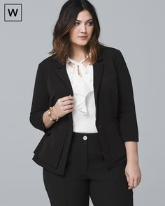 Plus All-Season Peplum Jacket - White House Black Market Business Professional Dress, Professional Wardrobe, Professional Dresses, Wardrobe Basics, Work Wardrobe, Capsule Wardrobe, Curvy Petite Fashion, Plus Size Fashion, Plus Size Workwear