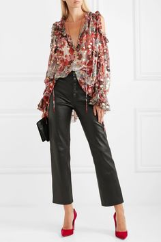 Multicolored fil coupé silk-blend chiffon Slips on silk, polyester Dry clean Made in Italy Alexander Mcqueen, Chiffon, Cold Shoulder, Harem Pants, Leather Pants, Summer Outfits, Feminine, Silk, Stylish