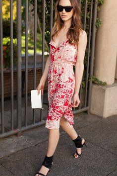 Red Hawaii Dress, Black Sunglasses, White Wallet, Black Cuff Heel