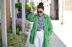 green coat white jeans