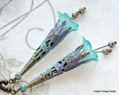 "Lucite Flower Earrings, ""Vintage Daydream"", Drop Earrings, Victorian Earrings, Boho Earrings, Hand Painted, Dangle Earrings Filigree…"