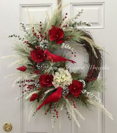 A personal favorite from my Etsy shop https://www.etsy.com/listing/488973943/christmas-wreath-cardinal-wreath-elegant