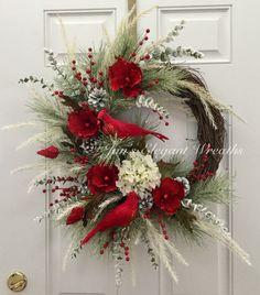 A personal favorite from my Etsy shop https://www.etsy.com/listing/488973943/christmas-wreath-cardinal-wreath-elegant