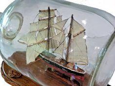 Boat In A Bottle, Ship In Bottle, Wooden Boat Plans, Wooden Boats, Model Ship Building, Sailboat Art, Vintage Boats, Model Ships, Sailing Ships
