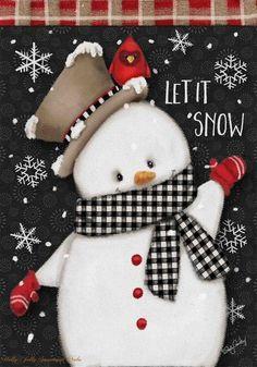 Briarwood Lane Celebrate Winter Snowman Primitive House Flag Cardinal Snowflakes x Christmas Mantels, Christmas Snowman, Christmas Wreaths, Christmas Crafts, Christmas Ornaments, Christmas Drawing, Christmas Paintings, Outdoor Christmas Tree Decorations, Advent