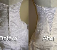 If your dress is too small adding a corset back is a great way to