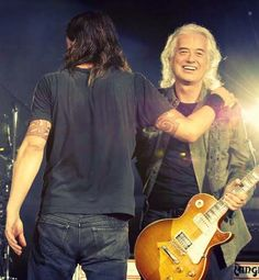 Jimmy Page & Dave Grohl....Foo Fighter concert in London, 2008