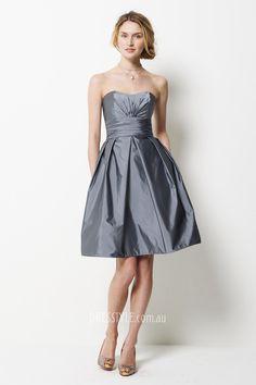 charcoal taffeta strapless a-lien above knee length pocket pleated bridesmaid dress