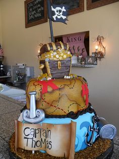 pirate cakes by Royalty_Cakes, via Flickr-- perfect birthday cake for a little boy I want this for Gabriels cake!