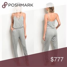 ❤️❤️COMING SOON❤️❤️ GRAY V NECK JUMPSUIT Heather gray jumpsuit. A sexy staple everyone must have in their closet! 😍 Pants Jumpsuits & Rompers