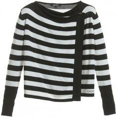 Girls Black & White Striped Knitted Cardigan