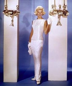 Doris Day in 'Midnight Lace' wearing a white sequinned dress (1960)