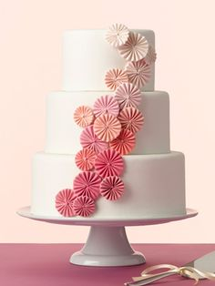 Would be pretty with white buttercream frosting & big ombre rosettes...Ombre Wedding Cakes