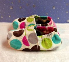 Fitted baby shoes in a Polkadot Corduroy made by by Scarlettos, $25.00