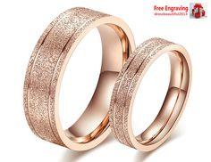 Couple Set Rings Wedding Band Dull Polish Titanium Love Gift Free Engraving ring #Fashion