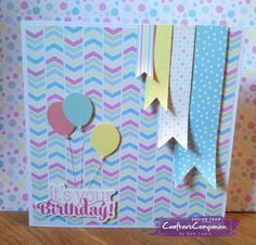 """CAS Card made using Sara Signature Collection """"Birthday Party"""" Collection. Designed by Sam Lewis. #crafterscompanion #saradavies"""