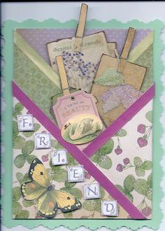 Fancy shabby chic folded pocket card created from tutorial in Charmedcardsandcrafts.co.uk.