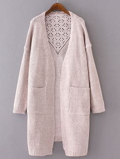 To find out about the Light Pink Drop Shoulder Eyelet Pockets Cardigan at SHEIN, part of our latest Sweaters ready to shop online today! Cardigan Fashion, Knit Fashion, Look Fashion, Fashion Outfits, Knit Jacket, Knit Cardigan, Sweater Coats, Oversized Cardigan, Knitting Designs