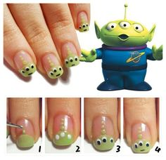Toy Story Alien Nail Art Tutorial: Put base coat, draw the head of the alien with the green nail polish Draw the antenna with 3 dots Draw 3 eyes with white nail polish Draw 3 pupils with black nail polish Outline the mouth with a fine brush. Nail Art Hacks, Easy Nail Art, Cool Nail Art, Love Nails, How To Do Nails, Fun Nails, Disney Nail Designs, Cute Nail Designs, Toy Story Nails