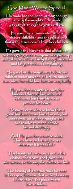 Spiritual Quotes - How God Made Women Special ~ http://taospiritualawakening.com