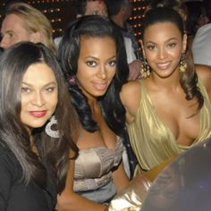 Southern glamour girls: Solange and Beyonce with their mother, Tina Knowles.
