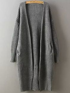 Grey Long Sleeve Chunky Loose Knit Cardigan 21.97