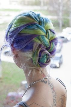 Shades of Pink, Purple and Green Hair Colours-I would do this but probably blue instead of green