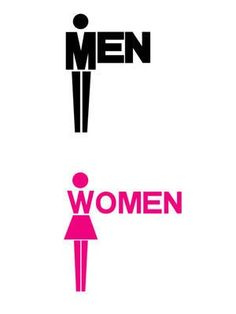 wc signage - letters integrated with people #men #women #verbicon