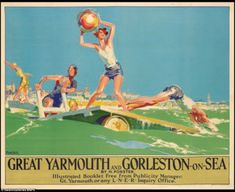 A rail LNER poster of Great Yarmouth and Gorleston 16 Posters Uk, Train Posters, Railway Posters, Poster Prints, British Travel, British Seaside, British Isles, Wales, Nostalgia