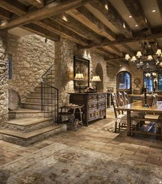"""""""A true champion has character and class regardless of circumstances. Rustic Home Design, Dream Home Design, Modern House Design, Cabin Homes, Log Homes, Home Wine Cellars, Tuscan House, Dream House Exterior, Stone Houses"""