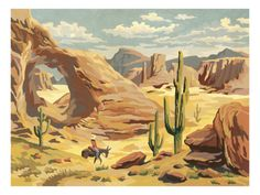 My mother did a paint by numbers oil painting identical to this in the 1950's. I remember it hanging in her house until she moved in1997.  Desert Landscape With Cowboy Print by Pop Ink - CSA Images at Art.com