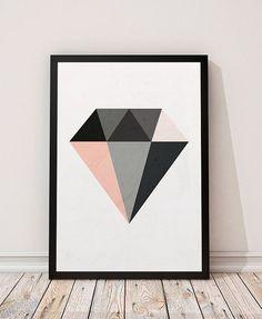 Diamond print, Minimalist art, Geometric print, Geometric poster, Watercolor art, Diamond wall art, Nordic style, Scandinavian print