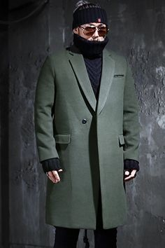 Lapel Woolen Button Over Coat