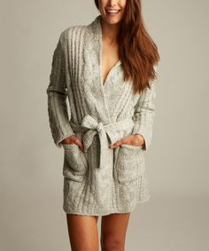 Look at this Snow Cable-Knit Rebecca Robe on #zulily today!
